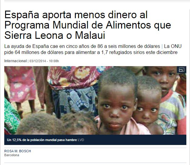 España aporta menos dinero al Programa Mundial de Alimentos que Sierra Leona o Malaui / LaVanguardia   #readyforintcoop