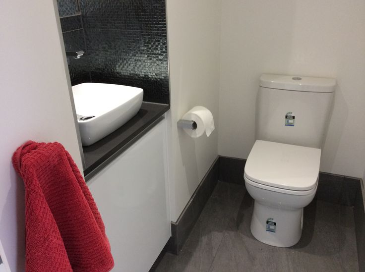 New plumbing for the back-to-wall toilet and hand basin installation in this bathroom renovation. www.connectedplumbgas.com.au