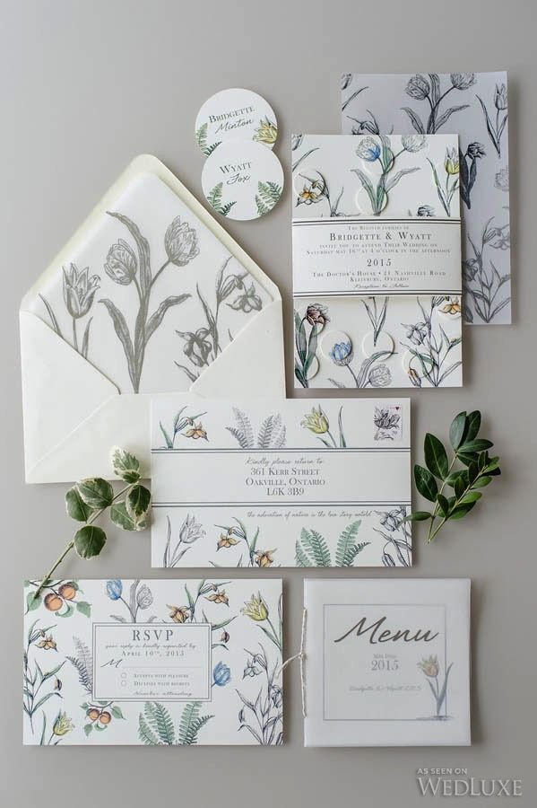 WedLuxe – The Book of Botanical Studies Invite