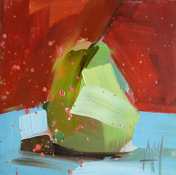 Pear no. 31 original still life oil painting by by prattcreekart