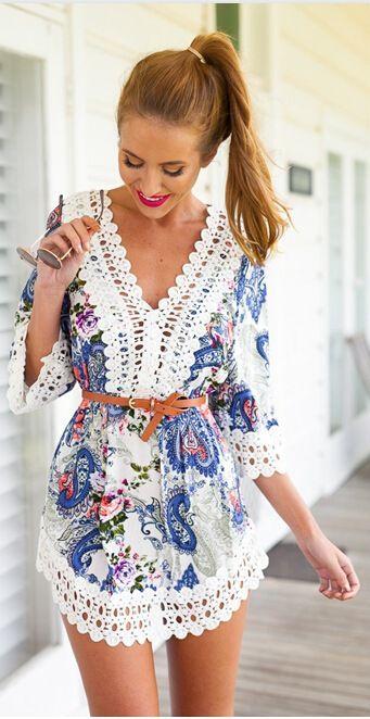 Bohemian Print Half Sleeve V-neck Loose Lace Above Knee Dress