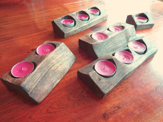 Rustic Candle holder set - for 11 candles from reclaimed wood