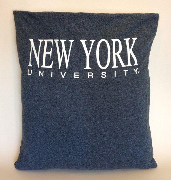 New York University Upcycled TShirt Pillow Slip Cover by SLIPUpcycledDesign, $25.00   #homedesign #homedecor #pillow #tshirtpillow #upcycled #greenproducts #greendesign #handmade #madeinUSA #madeinamerica #reclaimed #salvaged #tshirt #slipdesignhaus #slip #slipupcycleddesign #mancave #gift #birthday #newyorkcity #NYU #Newyorkuniversity #collegiate #college #university #nyualumni #alumni #nyustudent #student #dormdecor #dorm #dormitory