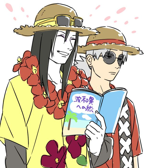 orochimaru and kabuto on vacation inspired by Naruto SD