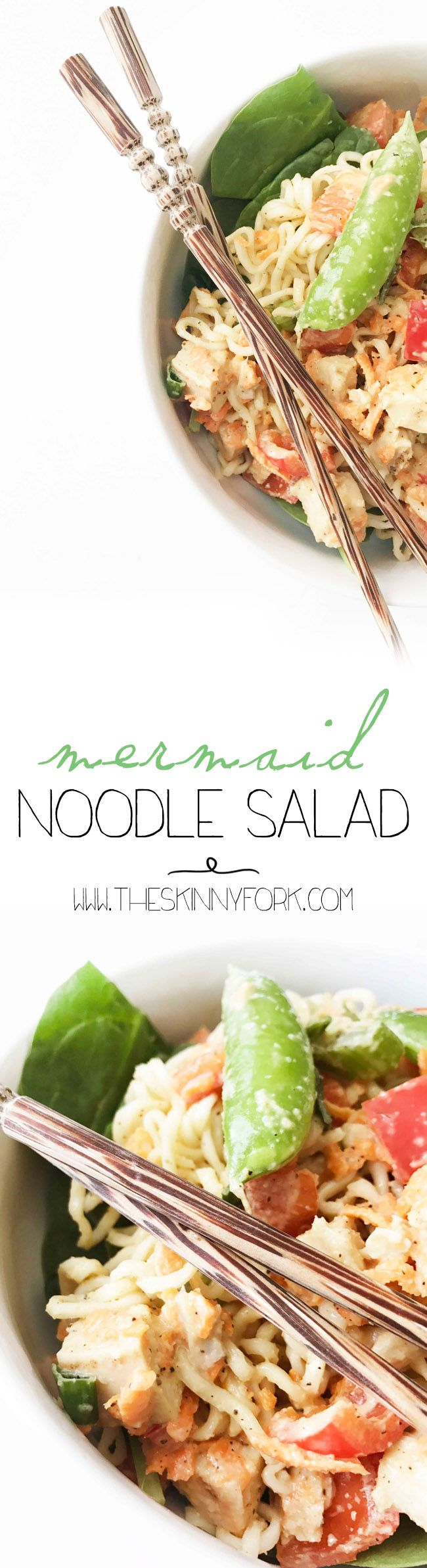 Ever wonder what mermaids eat? This Mermaid Noodle Salad is an old family favorite that's tasty, easy to make, full of veggies, and perfect for these hot summer days! TheSkinnyFork.com | Skinny & Healthy Recipes