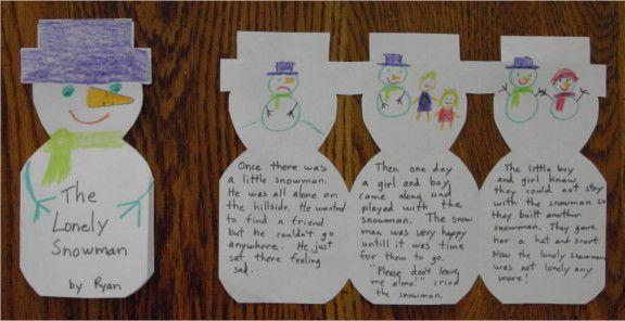 Talvinen lumiukkotarina! write snowman stories - beginning, middle, end :)