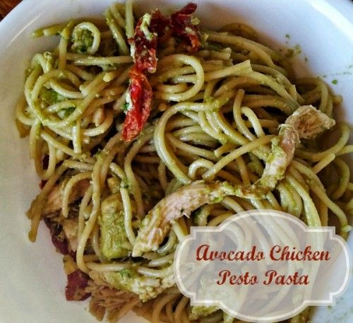 Avocado Chicken Pesto Pasta. Yum! Leave out the chicken for a delicious meatless meal. momalwaysfindsout...