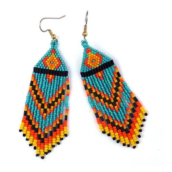 Long Native American Seed Bead Earrings in turquoise, yellow, black... ❤ liked on Polyvore