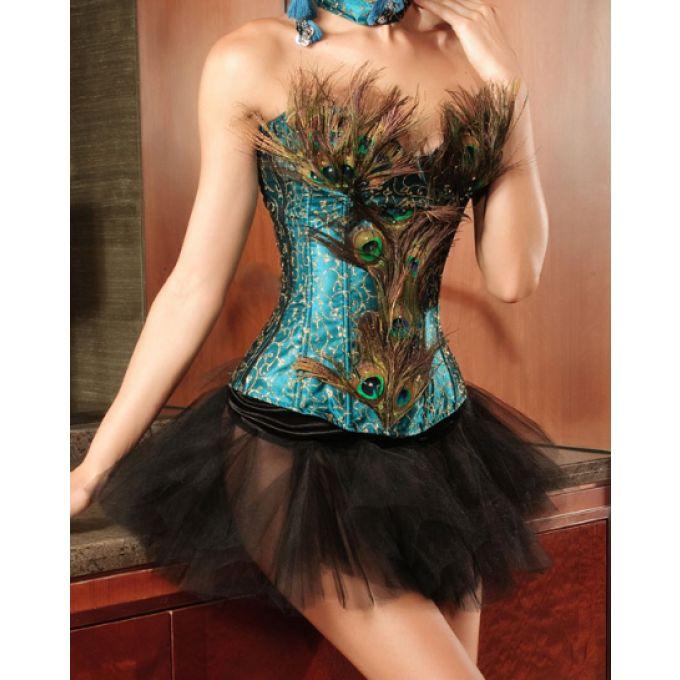 Corset jupe de luxe plume de paon - bestyle29.com