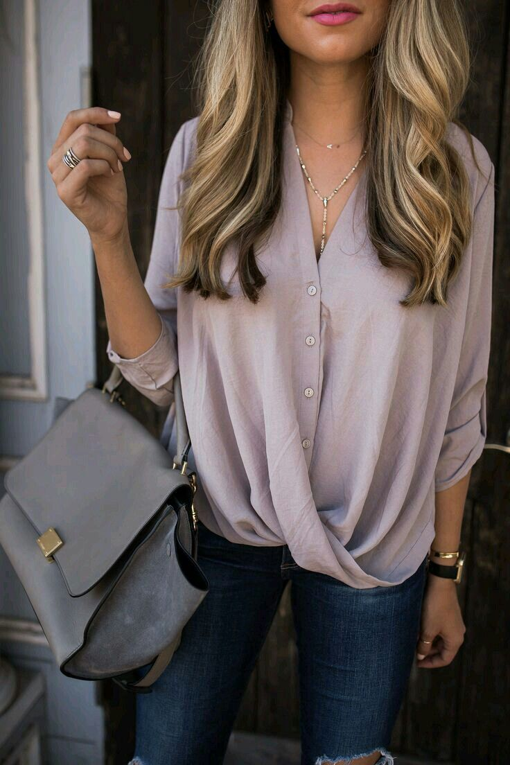 Mauve button down.
