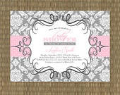 Printable Baby Shower Invitation - Vintage Baby Shower Invitation - Shabby Chic Girls Baby Shower Invitation - Pink, Turquoise, and Red. $15.00, via Etsy.