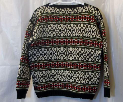 FIGGJO VTG Nordic Sweater sz 40 US 4 6 S Black Cream Intarsia Ski Made in Norway
