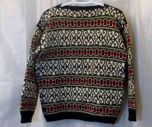 FIGGJO VTG Nordic Sweater sz 40 US 4 6 S Black Cream Intarsia Ski Made in Norway