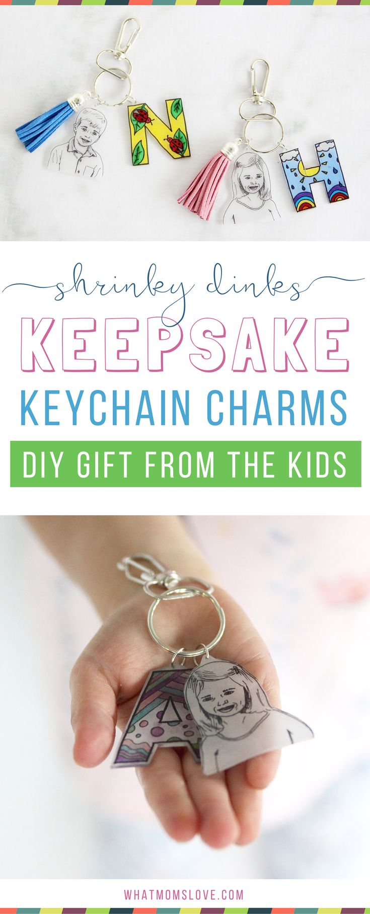 This easy to make Mother's Day or Father's Day gift from the kids is the perfect homemade keepsake to give to mom, dad, grandma or grandpa. Use Shrinky Dinks to create a DIY initial and headshot keychain - they're simple to make but totally unique. Anyone can make them, from toddlers to teens. Makes a great last minute gift from the kids or grandkids for Mother's Day, Father's Day, Grandparents Day, birthdays or Christmas!