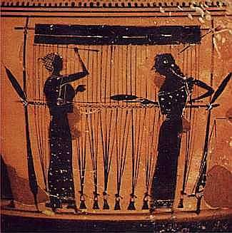 Two women at a loom, passing their shuttle back and forth Attic black-figured jug, c.550 BC, attributed to the Amasis Painter. he Metropolitan Museum of Art, Fletcher Fund, 1931     http://www.textileschool.com/Portals/0/Multimedia/Images/Weaving/WomenWeaving.jpg
