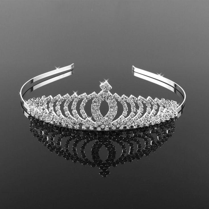 Clear Crystal Rhinestone Tiara Prom Pageant Wedding Princess Crown Adjustable