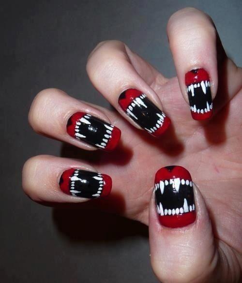 Wolf Teen Nail Art nails nail teeth pretty nails nail ideas nail designs