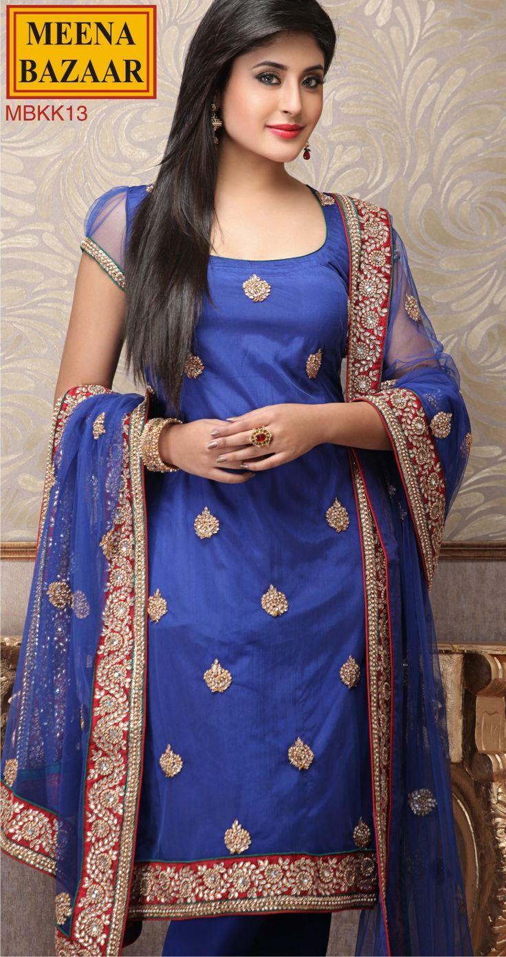 Kundan work Suit on Nett fabric