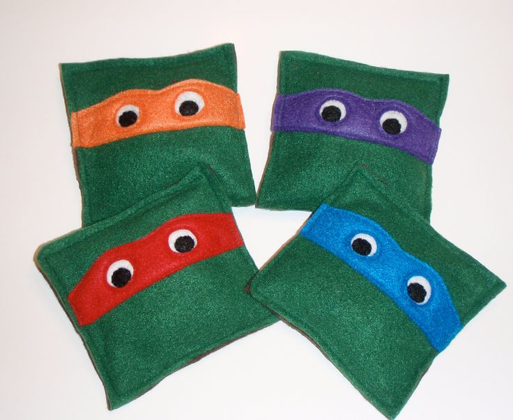 Set of 4 Teenage Mutant Ninja Turtle Bean Bags. $12.00, via Etsy.
