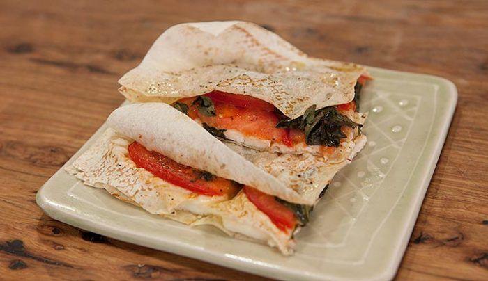 Grilled Haloumi Cheese Tomato Basil Mountain Bread Sandwich