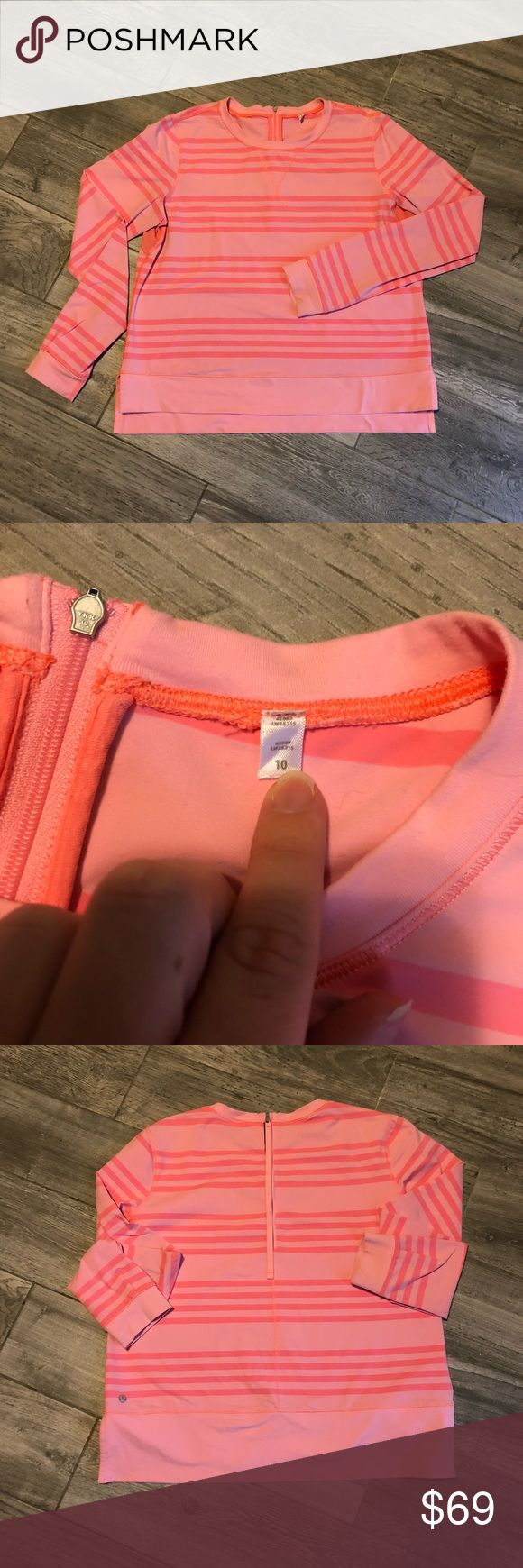 [lululemom] Pink Striped Zip Up Sweater - Size 10 Super cute and girly pink striped sweater by lululemon. Zipper located on back of neck and has a pull tag to make it easy on yourself when zipping up behind your head. Size 10. Breathable pink mesh material under armpits for working out purposes. lululemon athletica Sweaters Crew & Scoop Necks
