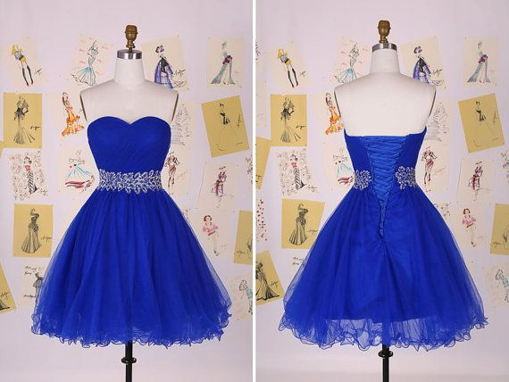 Royal Blue Sweetheart Beading Belt Short Prom Dress/Sweet Homecoming Dress/Tulle Party Dress/Graduation Dress /Short Prom Dress DAF0002