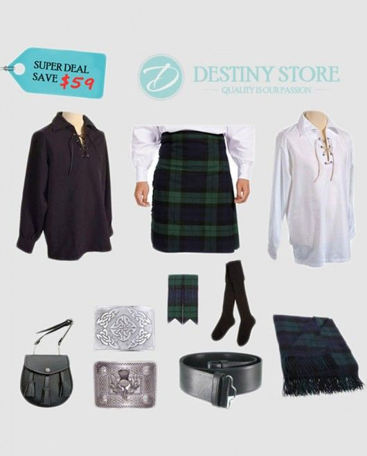 Black Watch Tartan Complete Wedding Kilt Outfit    Black Watch Tartan Kilt Outfit Wedding Deal is very economical low prices outfit Package for those who need all outfit Package at very reasonable cost. Our cheap kilt outfit deal contacting all the accessories and kilt to meet your requirement of wedding party or Clan Functions.
