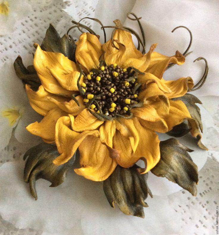 Купить Цветы из кожи. Цветок из кожи С Кубанским приветом - желтый, подсолнух, подсолнух из кожи