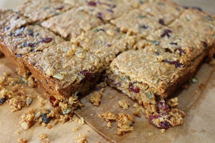 Cranberry, peanut butter and coconut bars