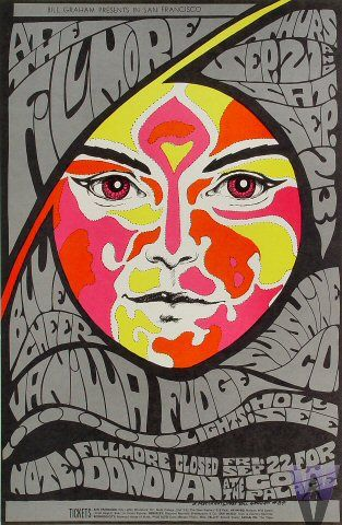 Donovan, Vanilla Fudge, Blue Cheer Poster, Fillmore Auditorium (San Francisco, CA) Sep 21, 1967. Art by Bonnie MacLean.