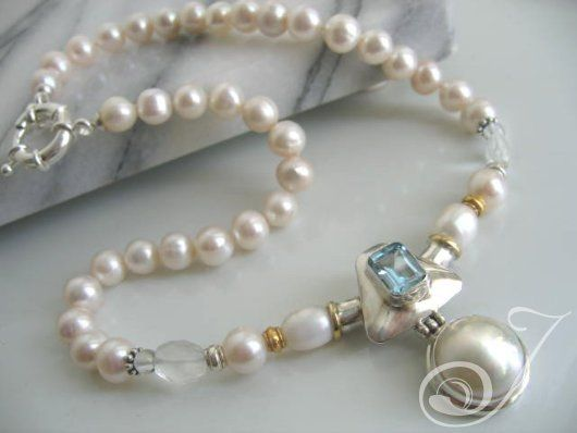 Blue Topaz Shield Necklace – Pearl Jewellery