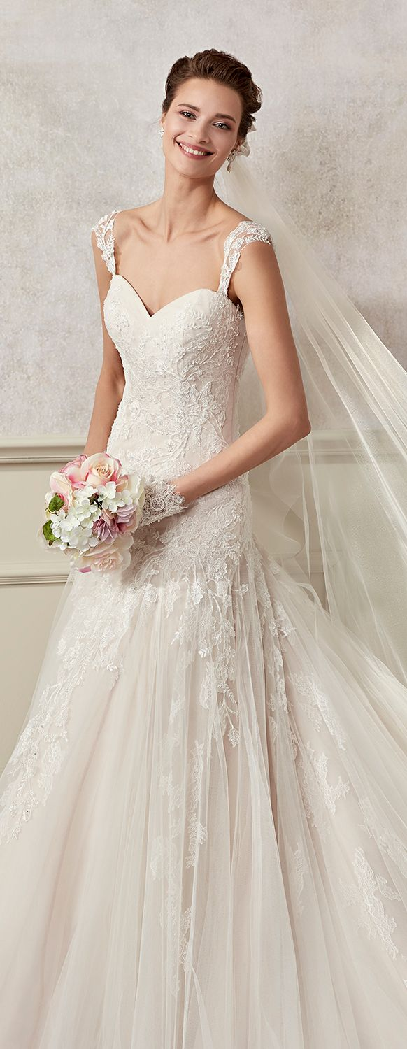 "Colet pink-ivory ""A"" line dress, in tulle with rebrodè beading lace and chantilly lace.Colet 2017 Collection - Wedding dress"
