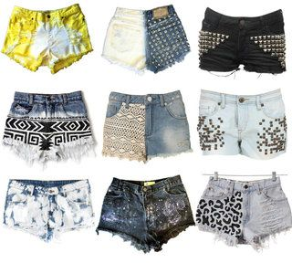 Cute shorts that are easy to make out of jeans. Just get a pair of regular jeans(lees or Levi's are better to use for high waisted shorts). Cut them the length you want. The best place to get these jeans is goodwill. I got 4 pairs for $20 over there. Go to hobby lobby and get the decorations you want to put on them and either sew them on, stick them on, or spray paint them on.