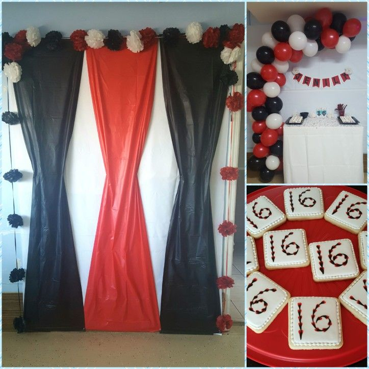 Red Black And White Sweet Sixteen Party Theme White Party
