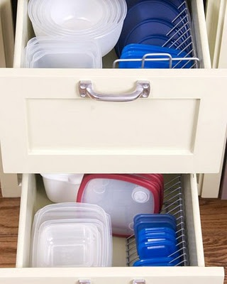 tupperware organization  looks like cd racks.  if its not it would work.  so goin to the dollar store tomorow