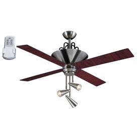 Garyu0027s Bedroom: Harbor Breeze Galileo Brushed Chrome Downrod Mount Ceiling  Fan With Light Kit And Remote Control
