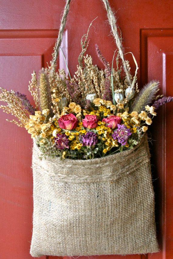 Dried Flower Wreath/Burlap Bag by CloverHollowDesigns on Etsy, $27.00
