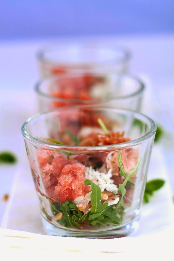 Parmahapje met granité van watermeloen