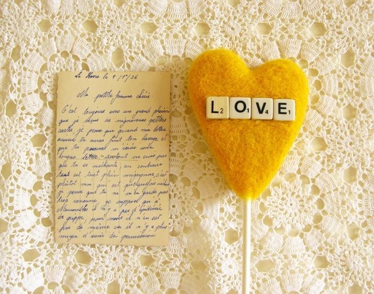 Yellow Heart Wedding Cake Topper with Vintage Dice Sign LOVE Craspedia Color Summer Wedding Photo Prop by Cherrytime. $39.00, via Etsy.