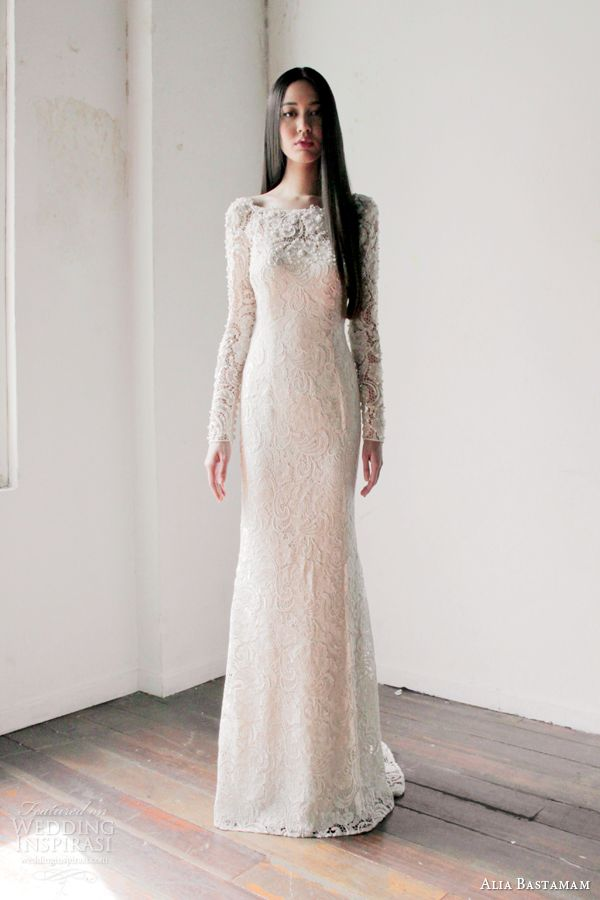 alia bastamam 2013 long sleeve lace wedding dress. beautiful!