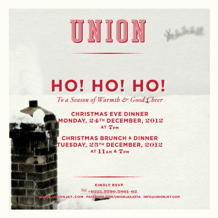 Christmas Eve Dinner at UNION 24th & 25th December 2012