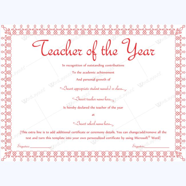 13 Best Teacher Of The Year Award Certificate Templates Images On   Award  Word Template  Award Word Template