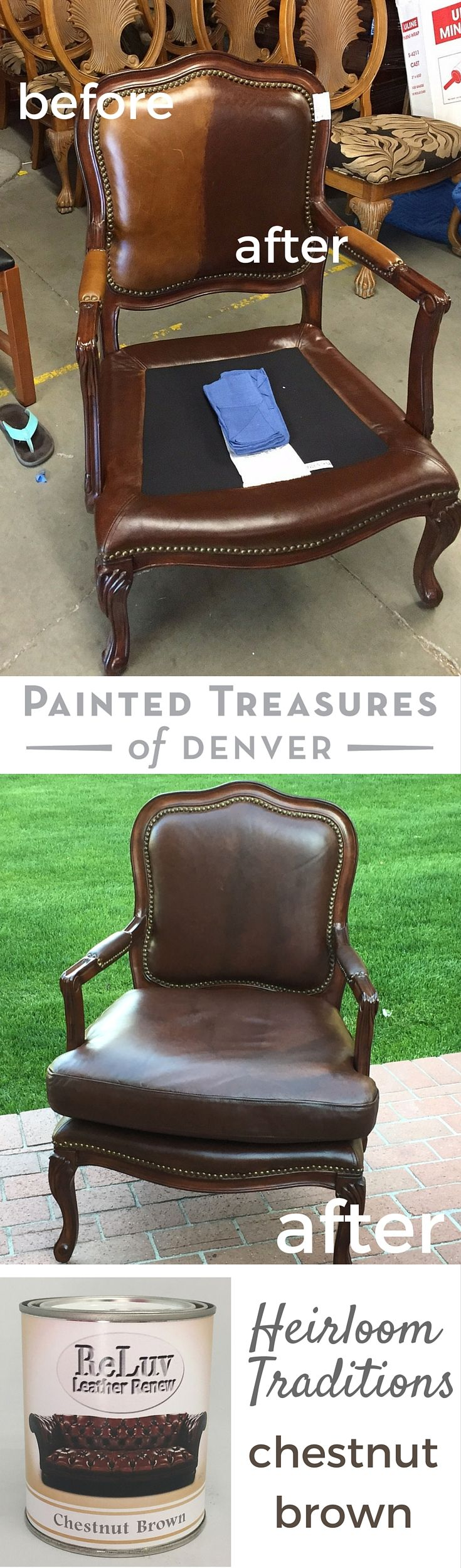 Paint Leather Furniture easily with Reluv! I gave this faded leather chair a new life with Heirloom Tradition's Reluv in Chestnut Brown. The final product doesn't rub off on your cloths, and fixes flaws, worn spots and signs of age with a fresh coat of paint! Get 10% off these products using PAINTEDTREASURES promo code. Painted Treasures of Denver