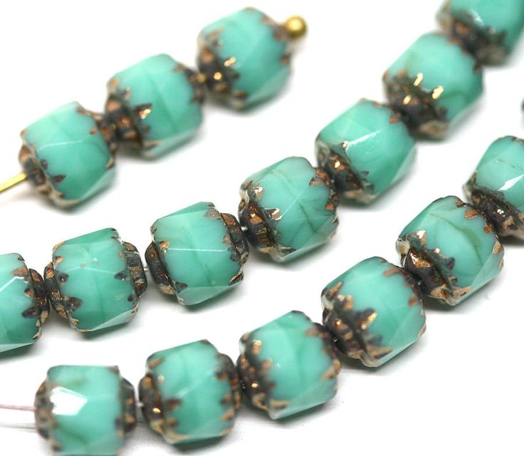 Turquoise green cathedral beads 6mm Czech glass round beads Fire polished turquoise glass beads Bronze ends - 20Pc - 0505 by MayaHoney on Etsy