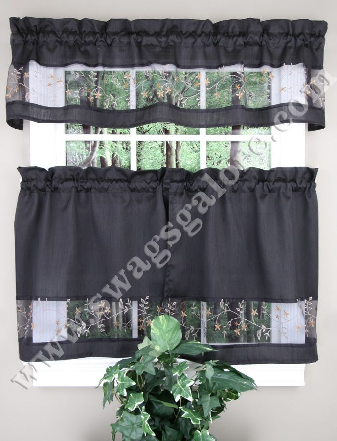 Fairfield Is Lovely Valance Tier Separates Valances Tiers Uniquely Combine Faux Satin Embroidered Voile Sheer Kitc Kitchen Curtains