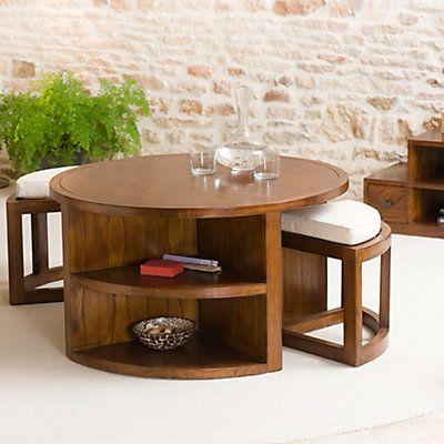 Table basse et 2 tabourets bois de mindi marron et beige vendue seule  90 x 90 x 50,7 cm