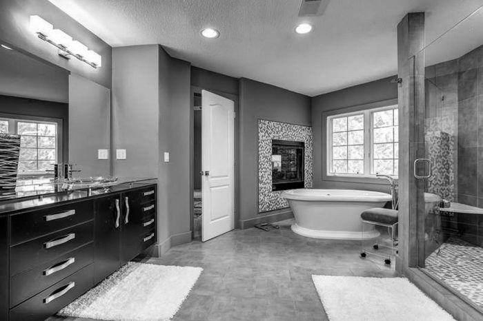 badezimmer schwarz-weiß grauer weiss grau schwarz   badezimmer, Deko ideen
