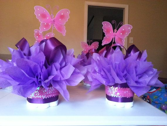 Spring pink butterfly diaper cakes with pink sequin sparkle so adorable for a baby shower or first birthday table centerpiece on Etsy, $10.00