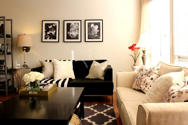 Grey black cream and tan living room inspiration - Small living room colors ...