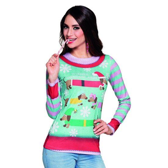 Carnavalskostuum kerstprint dames shirt  Kerst shirt met lange mouwen met een fotoprint aan beide zijden van kersthondjes en sneeuwsterren. Materiaal: 100% polyester.  EUR 29.95  Meer informatie